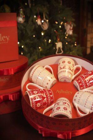 Aynsley Fairisle Mug Set of 6