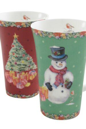 Aynsley Classic Christmas Latte Mugs Pair