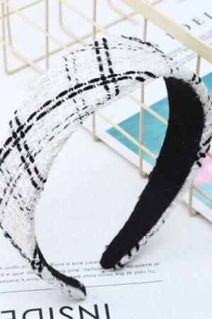 Peach Accessories Tweed White & Black Hair Band