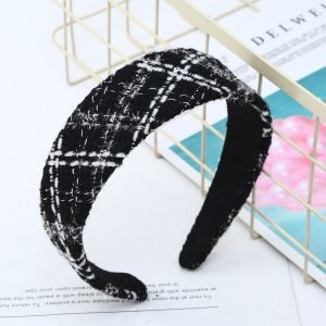 Peach Accessories Black with White Mix Tweed Hair Band