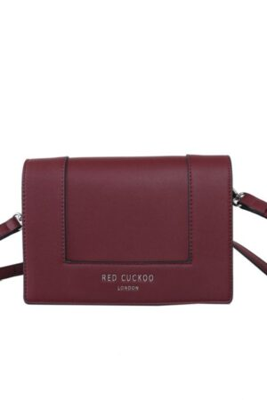 Red Cuckoo Block Panel Stud Fastening Cross Body Bag - Red