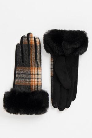 Pia Rossini Maria Check Glove with Faux Fur Cuff