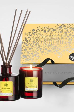 The Handmade Soap Company Candle & Diffuser Set Lemongrass and Cedarwood