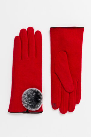 Pia Rossini Lucia Wool Glove with Faux Fur Pom Pom Detail