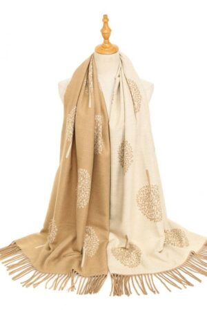 Peach Accessories Tree of Life Camel/Beige Mix Scarf