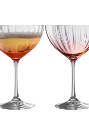 Galway Crystal Erne Blush Champagne/Cocktail Saucer Set of 2
