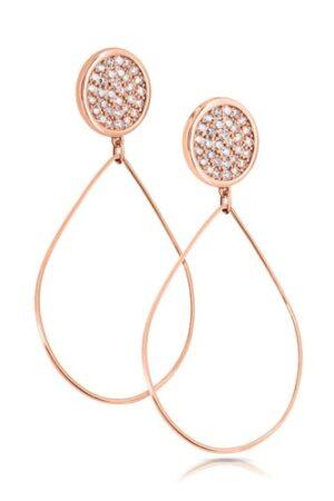 Tipperary Crystal Romi Rose Gold Pavé Disc Drop Earrings