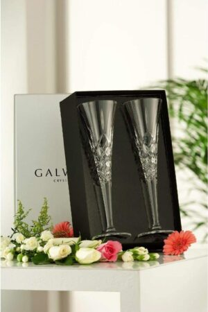 Galway Crystal Longford Romance Flutes Pair