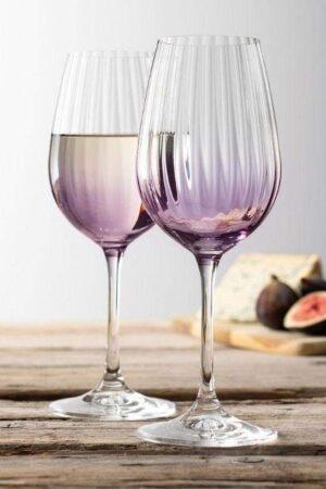 Galway Crystal Erne Amethyst Wine Glass Pair