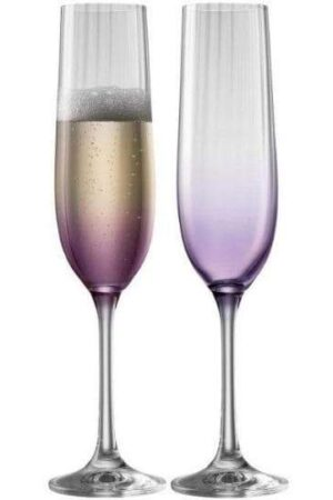 Galway Crystal Erne Amethyst Champagne Flute Pair