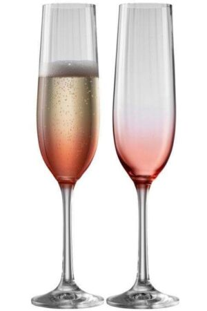 Champagne Flute Pair Galway Crystal Erne Blush -
